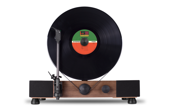 High-Performance Vertical Turntable with Full-Range Stereo Speakers. Built in Chicago.
