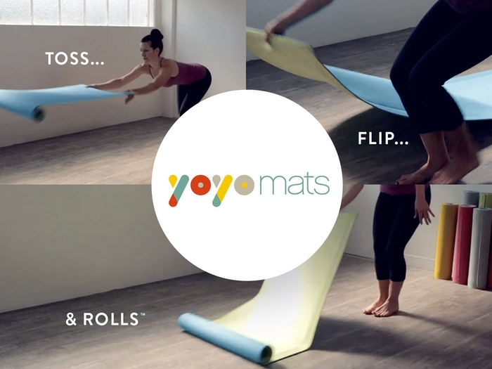 YoYo Mat is the world's only self-rolling fitness & yoga mat. It stays flat when in use & rolls up by itself tightly when you are done!
