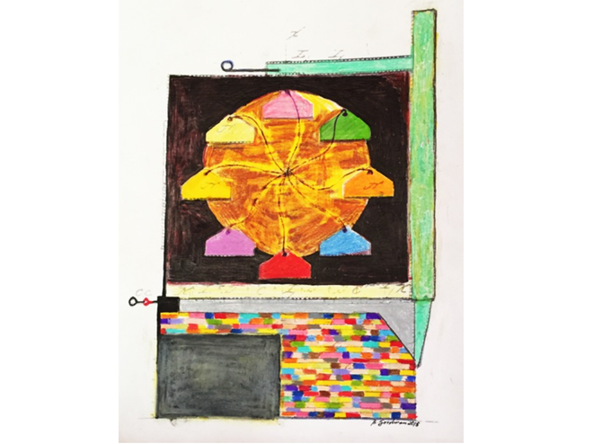 """Oven Drawing Underneath,"" Brenda Goodman, 2015, colored pencils and marker on paper"