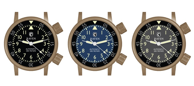 Raven Defender, brass dial choices
