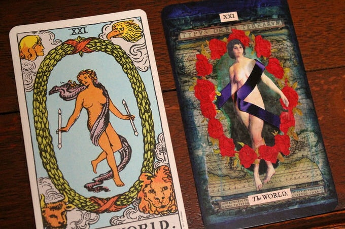 The Rider-Waite 'World' compared to 'The Stretch Tarot'