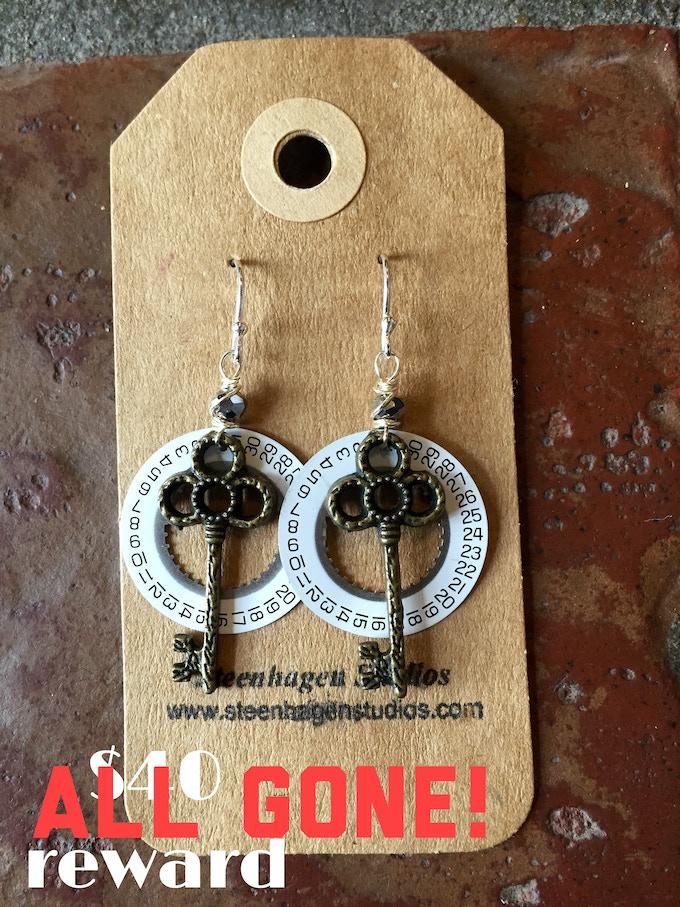 Steampunk earrings created by Waxwing shop artist Steenhagen Studios, ALL GONE!