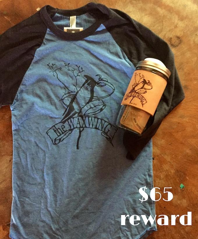 Waxwing Raglan Tee & Leather-bound Travel Mug Combo, $65 reward
