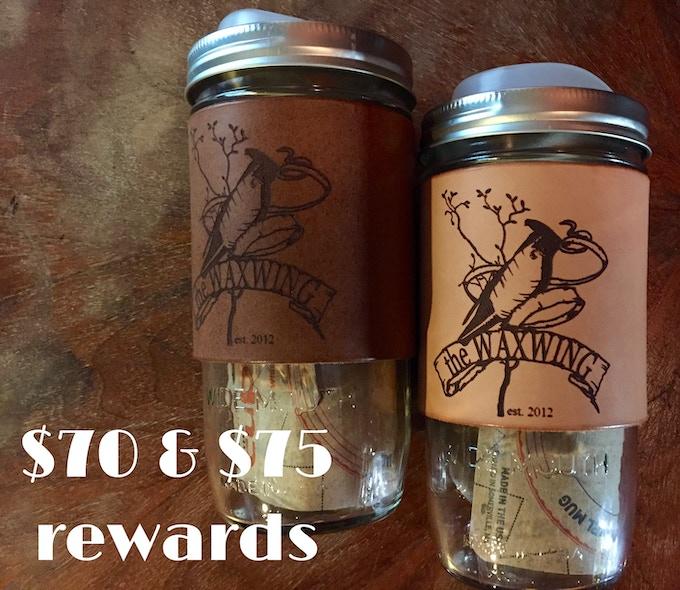 Mini & Mega sipping Duo Rewards: choose 2 small (12 oz) or 2 large (24 oz) leather-bound Waxwing Travel Mugs, $70 & $75 rewards