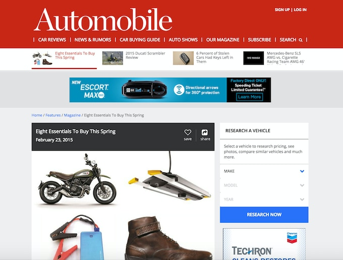 Junojumper named one of the top 8 essentials to buy by Automobile Magazine.