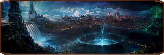 Panoramic view of the crater and the surrounding city of Starfall