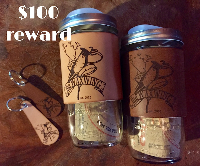 TWO Travel Mugs & TWO Keyfobs created by Waxwing shop artist Tactile Craftworks, $100 reward
