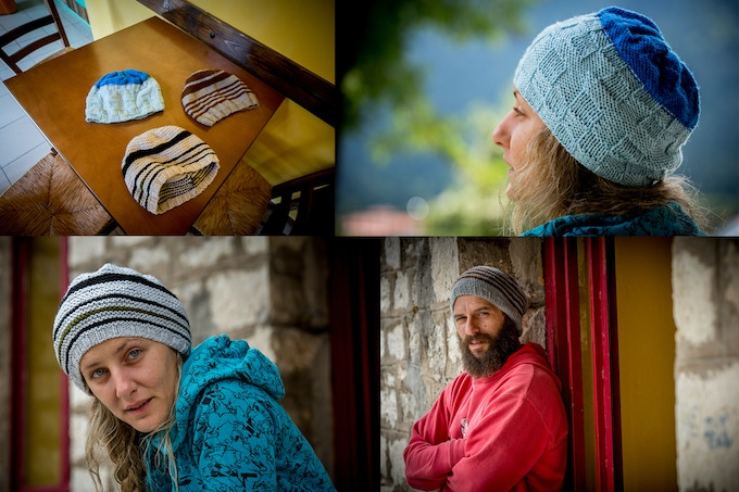 Hand knit wool beanies from Karpenisi, Greece. Each beanie comes labeled, in the 3 styles/colors pictured, your choice.