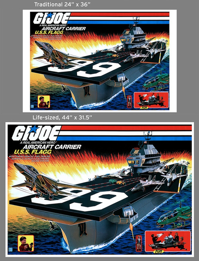 """24"""" x 36"""" compared to the life size 44"""" x 31.5"""" U.S.S. Flagg poster"""
