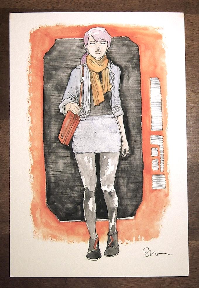 "7"" x 10"" Original Ink and Watercolor Drawing"