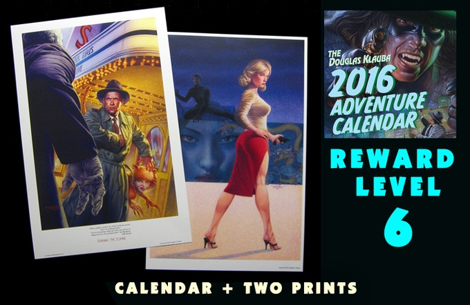 Signed Calendar, Signed Stalking the Zombie print and a Signed Honey West print