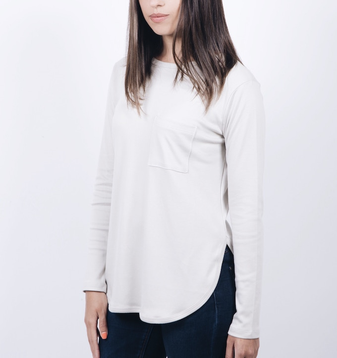 LONG SLEEVE POCKET TEE (Available in Black, Gray, White, Tan and Army Green) (Sizes: XS, S, M, L, XL)