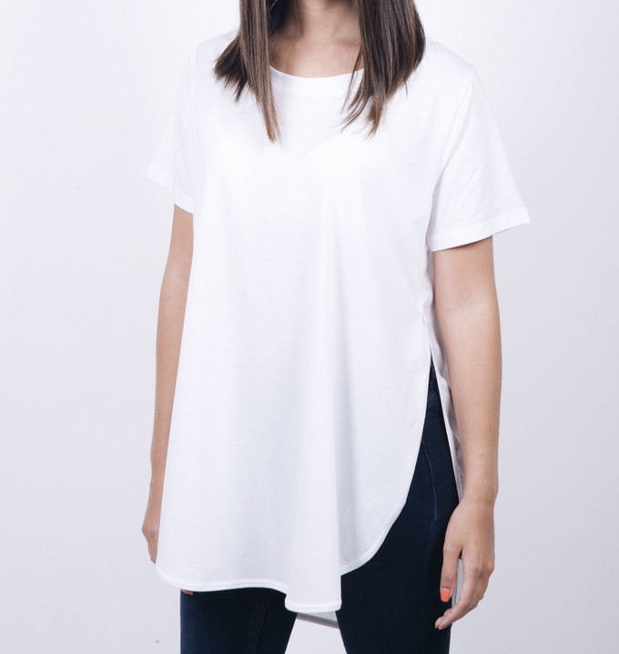 SLIT TEE (Available in Black, Gray, White) (Sizes: XS, S, M, L, XL)