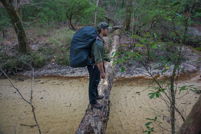 Joe Guthrie ops to take a precarious walk across a downed log rather than cross a flooded path. Photo by Carlton Ward Jr.