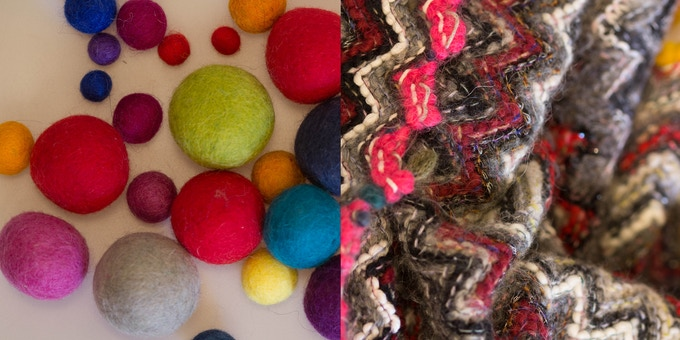 My inspiration...oh-so-cute balls of felt and zig zag patterns of wool thread
