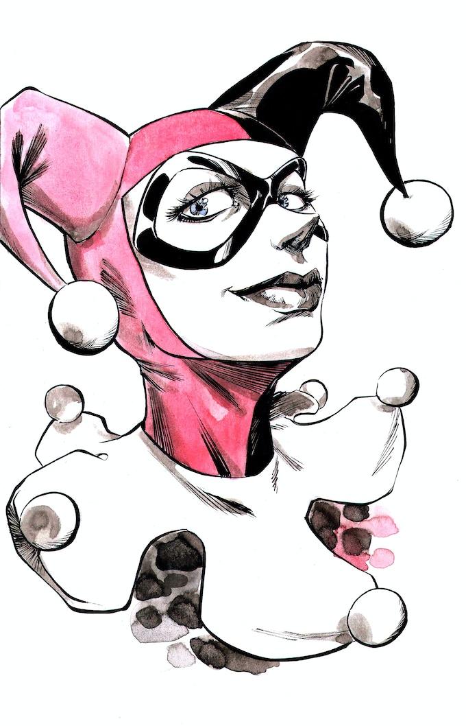 Harley Quinn Colored Original Sketch