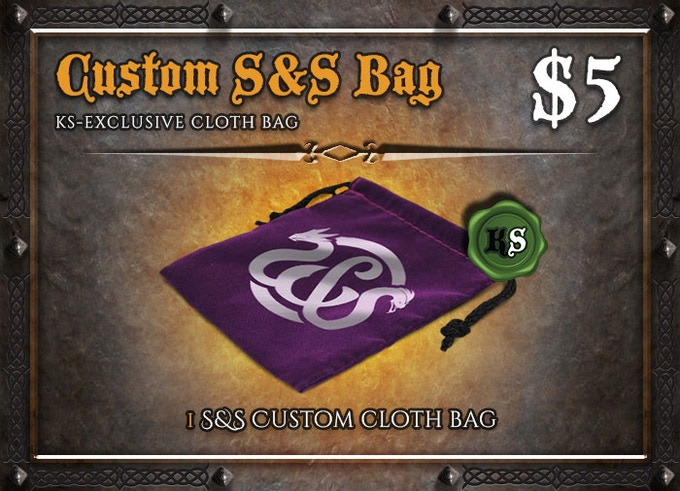 Store and carry around your S&S dice, coins, or tokens with style!