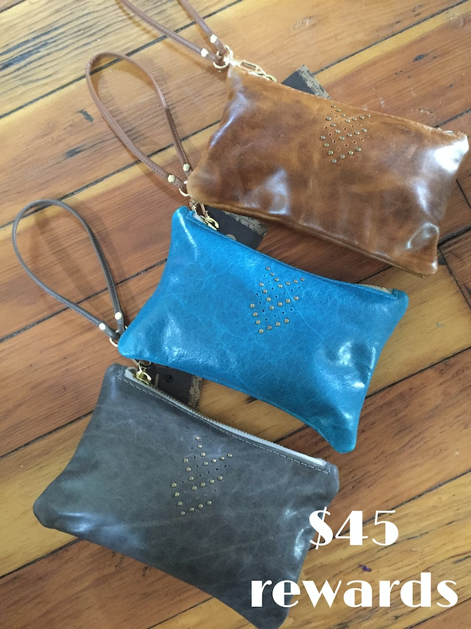 Small Leather Wristlets created by Waxwing shop artist Permanent Baggage, $45 rewards