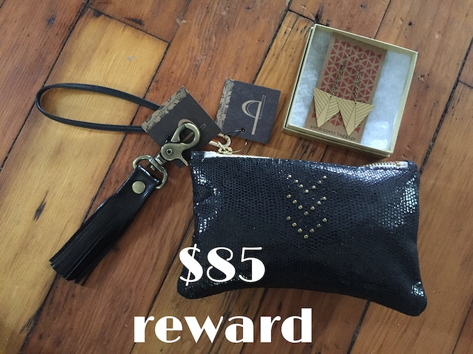 Permanent Baggage Rewards Package: leather tassel keychain, small leather wristlet & a pair of brass earrings, $85 reward