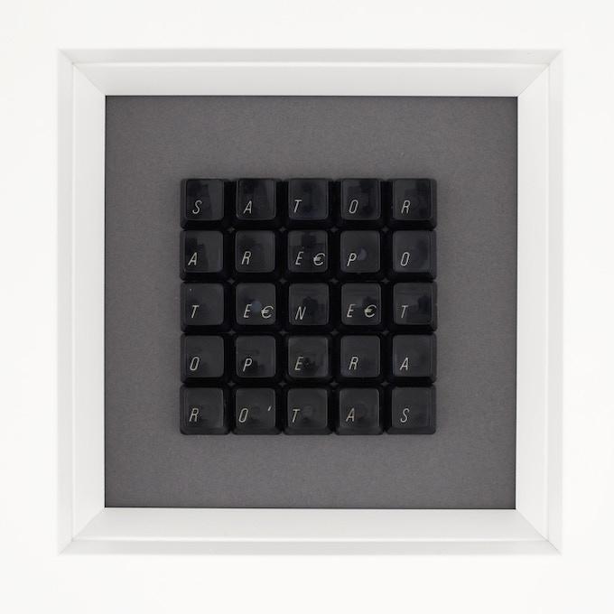 (sold) 299€ SATOR Square #11 made from black Apple Keys.