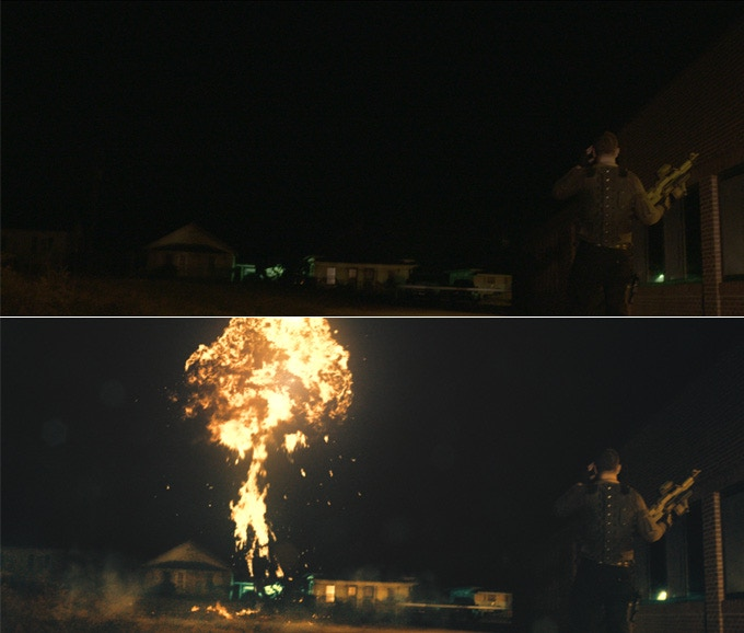 Before/After applying an Explosion and Dust Wave effect to a shot.