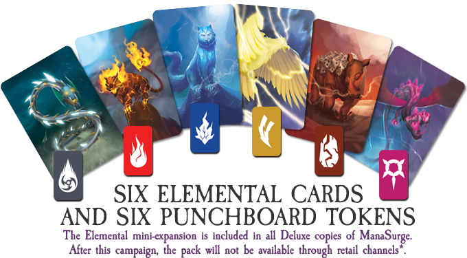 This mini-expansion introduces the Elementals that can change the suit of a card you play on your turn giving you more control on when to score!