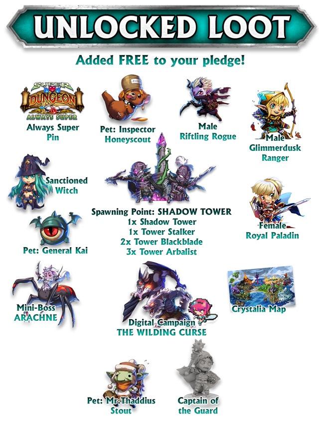 Free LOOT rewards for Explorer, Dark Consul, and Legendary pledges. Pixelated pledge receives Digital rewards only.