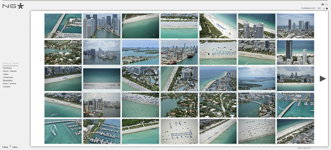 A screenshot from the ''In the air'' Miami collection on the artist's webiste. (Click on the image to be forwarded directly).