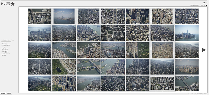 A screenshot from the ''In the air'' New York collection on the artist's webiste. (Click on the image to be forwarded directly).