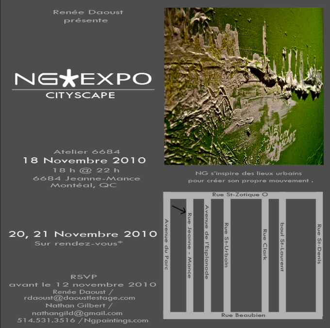The invitation to the ''Cityscape'' exhibition. (Click on the image to see pictures from the event).