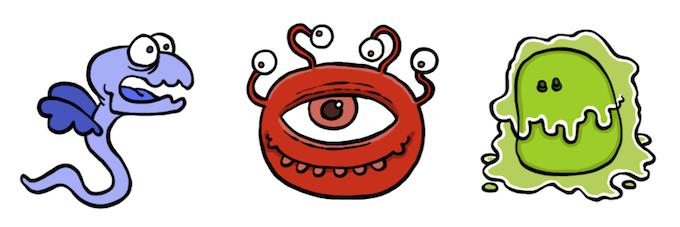 Shrieking Winged Eel, Red Eye, Acid Slime