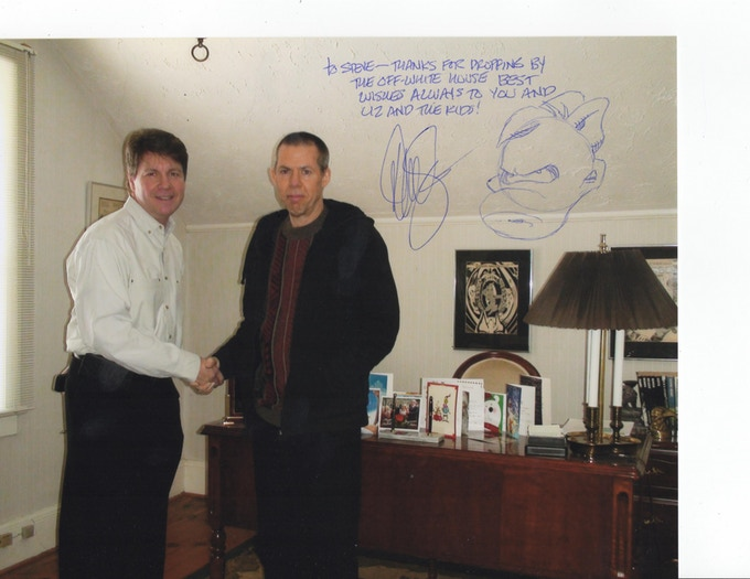 Steve Harold visiting Dave in the Rectangle Office