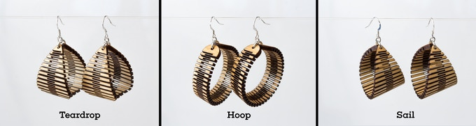 Teardrop, Hoop, and Sail Earrings