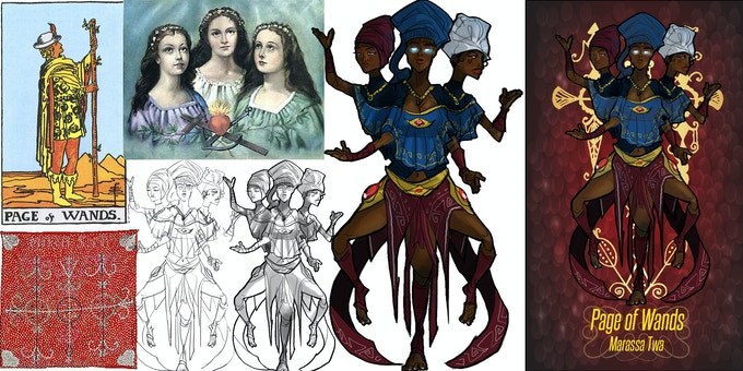 Creative References include Catholic Saint Images, Haitian Vodou Drapo (Flags) and Rider Waite Tarot