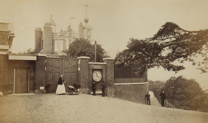 The Shepherd Gate Clock mounted on the wall of the Royal Observatory in 1870