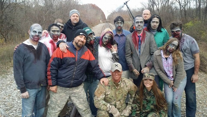 Cast & Crew after the opening scene was shot. (Note: Shot on inactive railroad tracks with permission)
