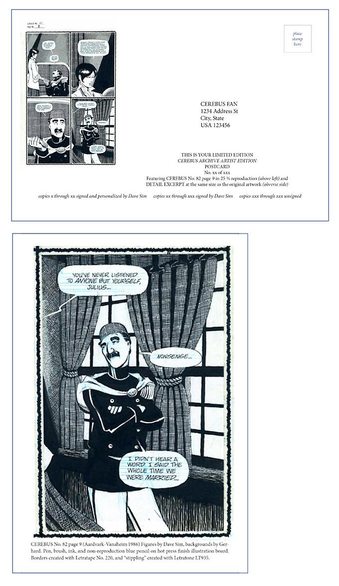 CEREBUS ARTISTS' EDITIONS POSTCARD No.1