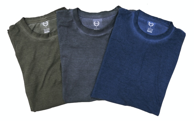 """T-Shirts come in all sizes printed the """"Frozen Ambrosia"""" design. Choice of 3 colors: Forest Green, Stone Grey, Sea Blue. 100% cotton, Made in Greece."""