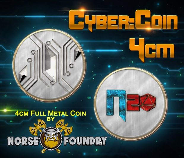 Mockup of CYBER:COIN in Ultimate CYBER:RUNNER Package