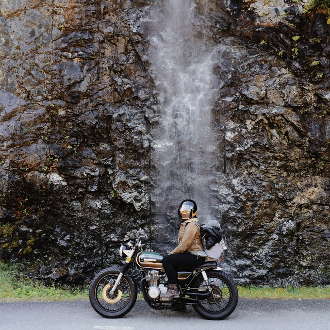 Jenny on her CB550 in the North Cascades