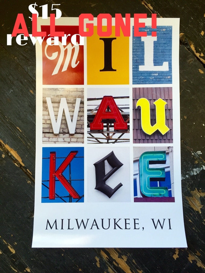 Milwaukee Typography Print created by Waxwing shop artist 85 Graphics, ALL GONE!