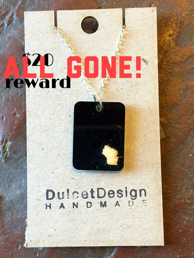 Wisconsin Necklace created by Waxwing shop artist Dulcet Designs, ALL GONE!