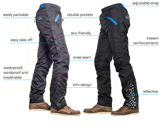 On the left side we can see a daytime (no flash) photo of the pants, while on the right side we have a night photo (with flash).