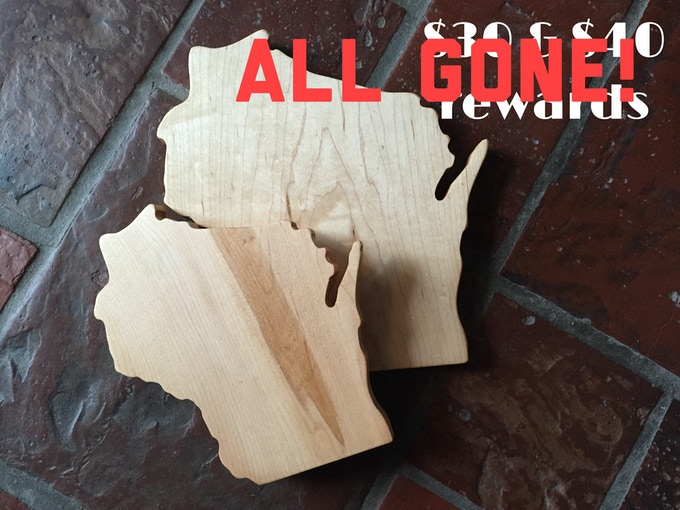 Wisconsin State Cutting Boards created by Waxwing shop artist, Our Daily Salt, ALL GONE!