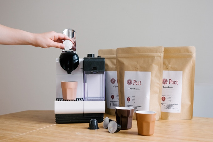 Our pods alongside the coffee bags our customers know and love.