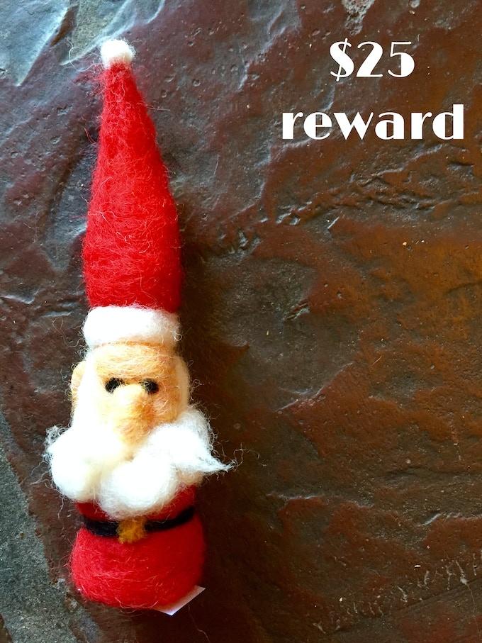Santa gnome created by Waxwing shop artist Jeriah Garton, $25 reward