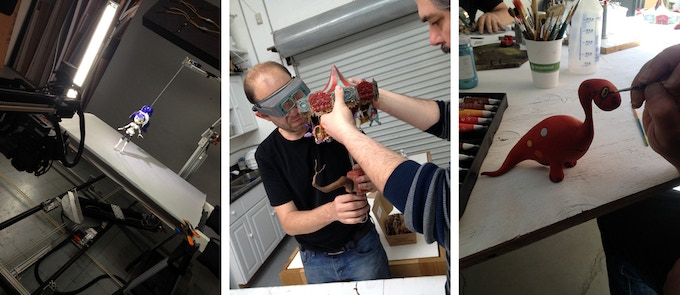 (from left to right) The Bride puppet skate cycle test / Martin and Brandt assembling a set / hand painting props
