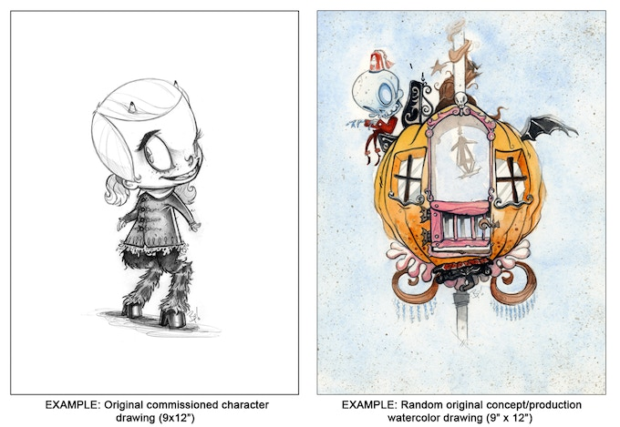 Original development art from Calliope as Kickstarter rewards from the creators of the short film.