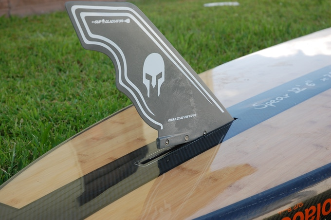 """""""Click It"""" technology Gladiator race fin. No screws needed"""