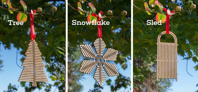Tree, Snowflake, and Sled Holiday Ornaments